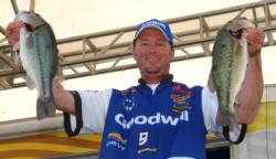 Goodwill pro Chad Grigsby sits in third place with a three-day total of 44 pounds, 5 ounces.