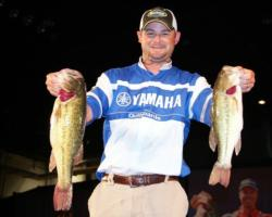 In third place is boater Brad Hallman of Norman, Okla., five bass, 13-6.