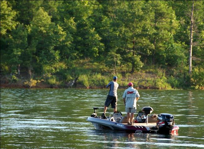 Two All-American competitors make early casts on day two in a cove not far from the takeoff site on DeGray Lake.
