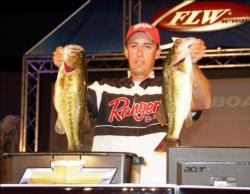 Leading the Co-angler Division on day two of the All-American is Brett Rudy of Burlington, Iowa, who has a two-day total of 15 pounds, 6 ounces.