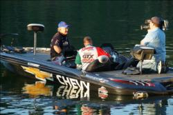Pro angler Tee Watkins is interviewed by a TV cameraman before the last takeoff of the 2010 All-American on DeGray Lake.