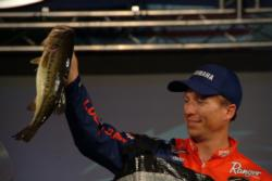 Pro Brent Ehrler shows off part of his winning catch shortly before capturing the FLW Tour title on Lake OUachita.