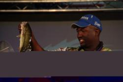 Pro Ishama Monroe of Hughson, Calif., finished in fifth place overall at the FLW Tour Lake Oachita contest after boating a four-day catch of 51 pounds, 6 ounces,