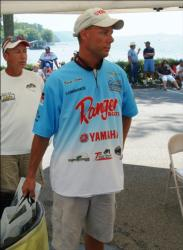 Pro leader Brent Long waits to weigh his fish Thursday.