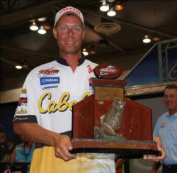 Lake Guntersville champion Brent Long holds up his trophy.