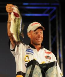 Brent Long holds up one of the last-minute fish that brought him victory at Lake Guntersville.