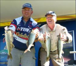 Pro Paul Meleen and co-angler Steve Beasley sit in second place after catching four walleyes worth 8 pounds, 8 ounces.