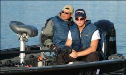 Pro Brett Wilkens and co-angler Derek Navis prepare for a long run to the east side of Lake Winnebago.