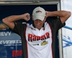 Co-angler winner Robert Sweeney celebrates his victory.