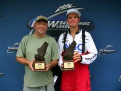 Jay Ahonen of Ortonville, Mich., and Adrian Avena of Vineland, N.J., tied for the win in the Co-angler Division at the BFL Michigan event on the St. Clair River in 2010.