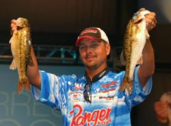 After catching a five-bass limit weighing 14 pounds, 8 ounces, pro Jason Christie sits in second place.