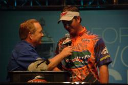 2010 FLW College Fishing National Champion Jake Gipson of the University of Florida talks with Forrest Wood Cup host Charlie Evans about the excitment of fishing in this year
