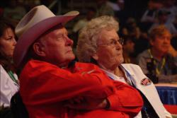 Ranger Boat founder and FLW Outdoors namesake Forrest L. Wood and his wife, Nina Wood take in the action during day-two weigh-in.