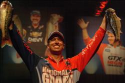 National Guard pro Brent Ehrler of Redlands, Calif., took over the lead in the 2010 Forrest Wood Cup with a three-day catch of 39 pounds, 3 ounces.