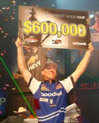 For winning the 2010 Forrest Wood Cup on Lake Lanier, Kevin Hawk claimed $600,000.