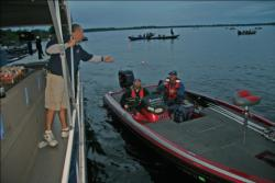 Anglers make their way through boat check at the start of day one on Lake Champlain.
