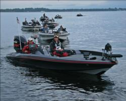 Anglers line up for the day two boat check.