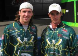 Wayne State University teammates Peter Bommarito and Andrew Smith caught two bass weighing 6 pounds, 8 ounces.
