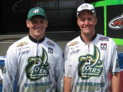 UNC-Charlotte anglers Joe Kinchen and Tyler Teer finished fifth with two bass weighing 6 pounds, 6 ounces.