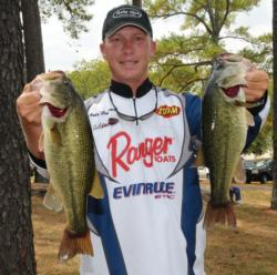 Day one leader Andy Montgomery of Blacksburg, S.C., slipped to second place with a 12-pound, 4-ounce catch today for a two-day total of 28-15.