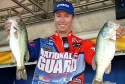 National Guard pro Brent Ehrler of Redlands, Calif., used a total catch of 31 pounds, 9 ounces to claim third place overall heading into the FLW Series finals on Lake Roosevelt.