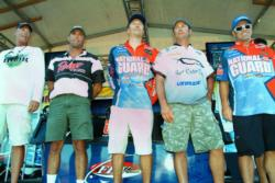 The top-five pros at the FLW Series event on Lake Roosevelt acknowledge the crowd shortly after weigh-in.