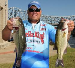 Michael Wooley of Collierville, Tenn., rose to the fourth place position with a 15-pound, 8-ounce catch today giving him a two-day total of 30 pounds, 10 ounces.