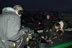 Versus television crews film the early morning action before the start of FLW College Fishing Western Regional competition.