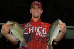 Chico State teammate Parker Moran shows off his catch en route to a third-place finish. The team of Moran and Marshal Smith were the second Chico State team to qualify for the finals.