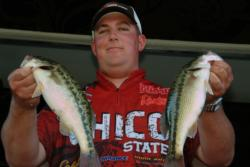 Chico State teammate Marshal Smith shows off his catch. The team of Moran and Marshall Smith were the second Chico State team to qualify for the finals.