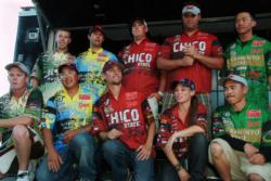 The top-five qualifers at the FLW College Fishing Western Regional Championship acknowledge the crowd shortly after day-two weigh-in.