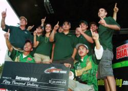 Peter Lee and Robert Matsuura join the Sacramento State bass fishing club onstage shortly after winning the FLW College Fishing Western Regional Championship at Folsom Lake.
