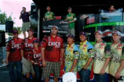The top five team finalists pose for photos at the FLW College Fishing Western Regional Championship.