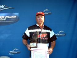 Kermit Crowder of Matoaca, Va., caught a total weight of 33 pounds, 13 ounces of bass Oct. 7-9 to win a Ranger boat in the Co-angler Division of the BFL Regional at the Potomac River.