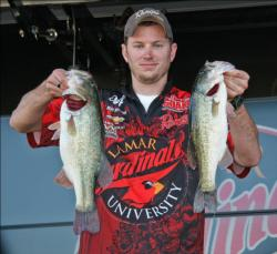 Matt Morrison threw spinnerbaits and crankbaits to keep Lamar University in the top spot.