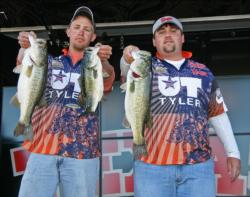 Tyler Fisher and Matthew McClellan caught 20 pounds, 12 ounces and moved the University of Texas-Tyler into second place.