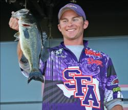 Blaze Platt and his partner Ryan Watkins slipped a little on day two, but kept Stephen F. Austin in the top five.