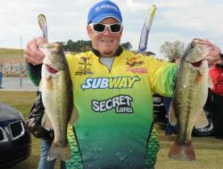 John Voyles of Petersburg, Ind., grabbed the fourth place spot after day one with five-bass weighing 13 pounds, 4 ounces.