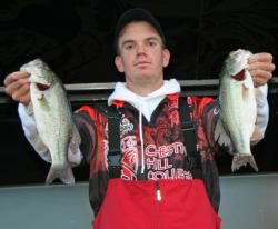 Adrian Avena found a pair of nice keepers for sixth place finish at the FLW College Fishing Northern Regional on Jordan Lake in 2010.