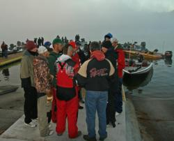 With fog delaying the day three start, the top five teams get a safety talk prior to launch.
