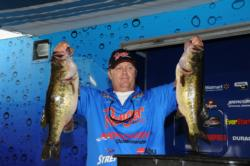 Frank Jenkins of Fort Myers, Fla., bagged five bass on day one weighing 30 pounds, 12-ounces for second place.