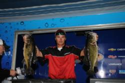 Brandon Medlock of Lake Placid, Fla., nabbed the third place spot after day one with a five bass limit for 28 pounds, 1 ounce.