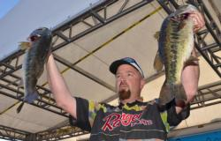 Second-place co-angler George Kapiton caught a five-bass limit Saturday weighing 17 pounds, 2 ounces.