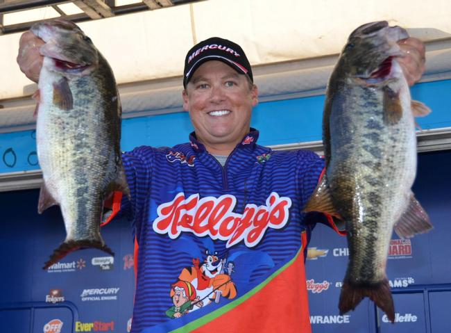 Fifth-place pro Terry Scroggins shows off part his 27-pound, 7-ounce limit.