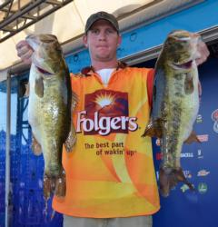 Belle Glade, Fla., pro Brandon McMillan shows off part of his day-three stringer that weighed 25 pounds, 5 ounces.
