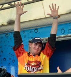 Brandon McMillan celebrates after winning the 2011 FLW Tour opener on Lake Okeechobee.