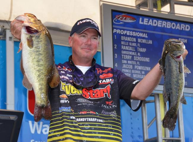 EverStart pro Randall Tharp finished the FLW Tour opener on Lake Okeechobee in second place with 102 pounds, 2 ounces.