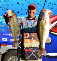 Pro Stephen Johnston of Hemphill, Texas, placed second on Sam Rayburn with 10 bass, 32-8, $10,083.