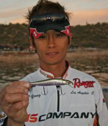 Young Yang hopes to tempt more smallmouth action with a jerkbait.