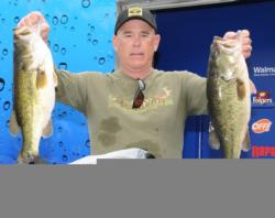Rick Williams of Decatur, Ala., is in second place after day one with five bass weighing 23 pounds, 15 ounces.